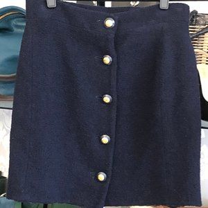 CHANEL Vintage Navy Wool Skirt w/ Gold Buttons